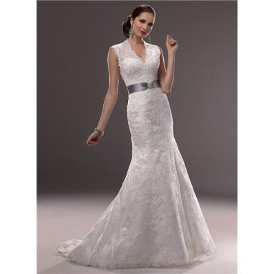 Mermaid Illusion V Neckline Sheer Back Lace Wedding Dress With Crystal Belt