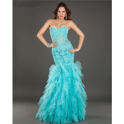 Mermaid See Through Lace Beaded Turquoise Tulle Ruffle