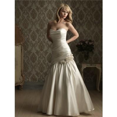 mermaid strapless corset back ruched satin wedding dress