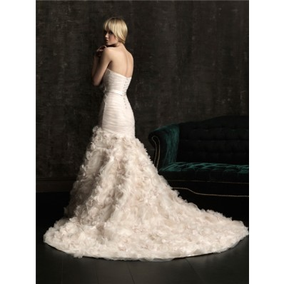 Mermaid Sweetheart Fit And Flare Champagne Organza Floral Wedding Dress With Sash