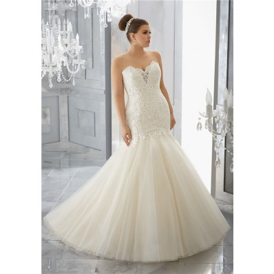 Mermaid Sweetheart Lace Tulle Flare Plus Size Wedding Dress