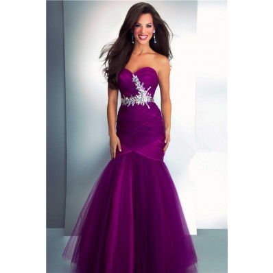 Mermaid Sweetheart Long Dark Purple Tulle Prom Dress With Crystals