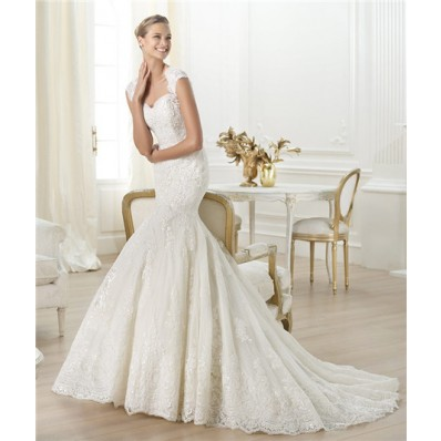 Mermaid Sweetheart Open Back Beaded Lace Wedding Dress With Straps