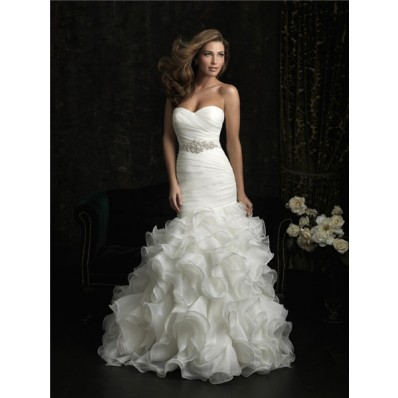 Mermaid Sweetheart Organza Ruffle Fit And Flare Wedding Dress With Crystal Sash
