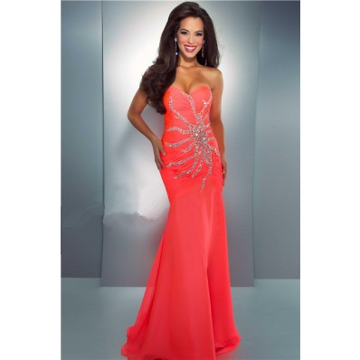 Mermaid Trumpet Sweetheart Long Neon Coral Chiffon Beaded Crystal Prom Dress