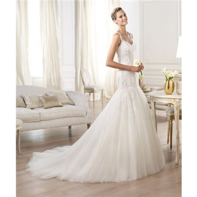 Mermaid V Neck Illusion Back Drop Waist Tulle Lace Wedding Dress With Straps