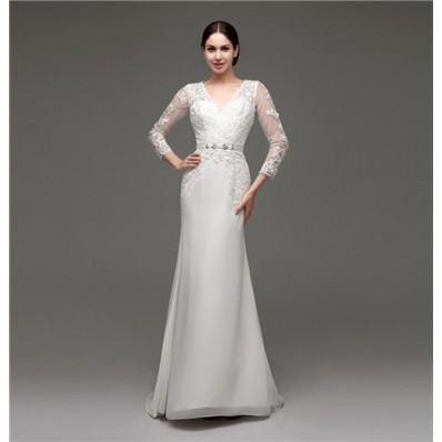 Mermaid V Neck Sheer Back Long Sleeve Organza Lace Wedding Dress With Sash