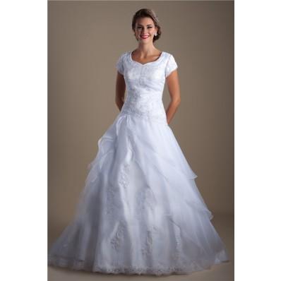 Modest A Line Cap Sleeve Organza Ruffle Lace Beaded Corset Wedding Dress