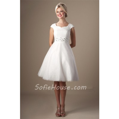 Modest A Line Cap Sleeve Short White Lace Party Prom Dress Corset Back