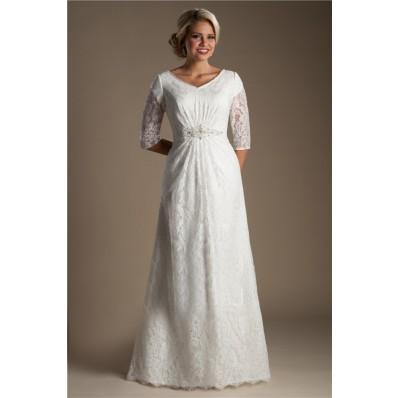 Modest A Line V Neck Three Quarter Sleeve Lace Beaded Wedding Dress