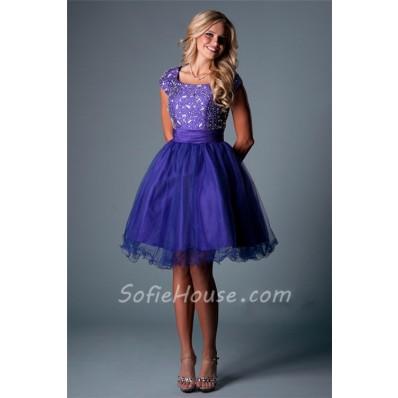 Modest Cap Sleeve Short Purple Satin Tulle Beaded Tutu Prom Dress Corset Back