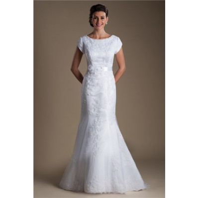 Modest Mermaid Bateau Neck Cap Sleeve Lace Wedding Dress With Flowers Sash