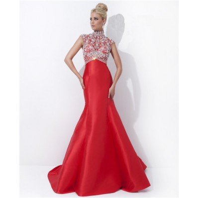 Modest Mermaid High Neck Cap Sleeve Long Red Satin Beaded Evening Prom Dress