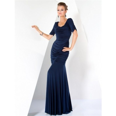 Modest Mermaid Long Navy Blue Chiffon Pleated Evening Wear Dress With Sleeves