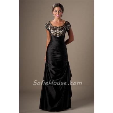 Modest Mermaid Square Neck Cap Sleeve Black Taffeta Lace Prom Dress