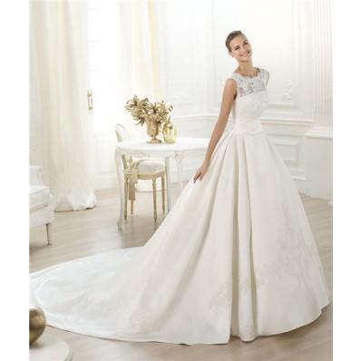 Modest Princess Ball Gown Bateau Neckline Lace Satin Wedding Dress With Long Train