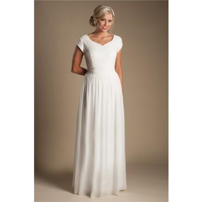 Modest Sheath Sweetheeart Cap Sleeve Chiffon Lace Beach Garden Wedding Dress
