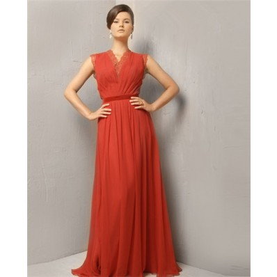 Modest Simple A Line Princess Long Coral Chiffon Evening Wear Dress With Belt