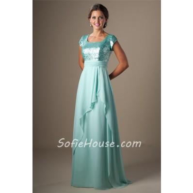 Modest Square Neck Cap Sleeve Long Aqua Sequined Chiffon Corset Prom Dress