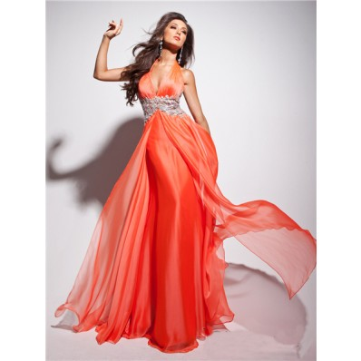 New Flowy Halter Floor Length Coral Chiffon Evening Prom Dress With Applique Beading