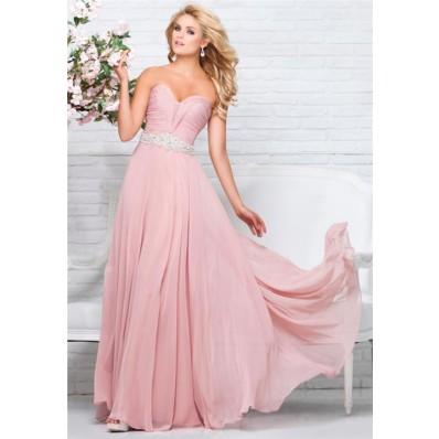 Perfect A Line Strapless Sweetheart Long Blush Pink Chiffon Beaded Prom Dress