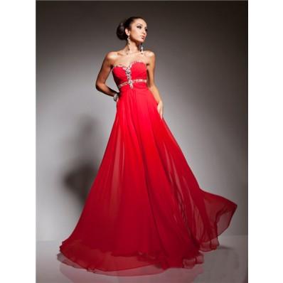 Pretty A Line Princess Sweetheart Long Red Chiffon Beading Evening Prom Dress