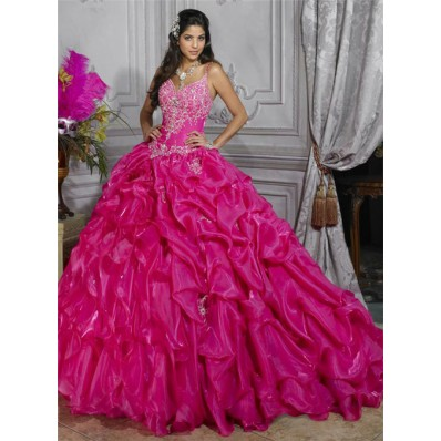 Pretty Ball Gown Red Organza Quinceanera Dress With Embroidered Beading