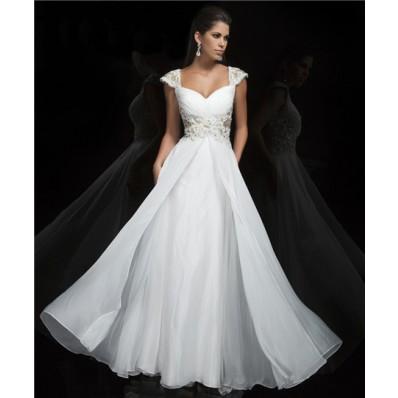 Princess A Line Cap Sleeve Sweetheart Long White Chiffon Beading Evening Prom Dress