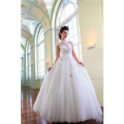 Princess Ball Gown High Neck Tulle Illusion Wedding Dress With Beading Buttons