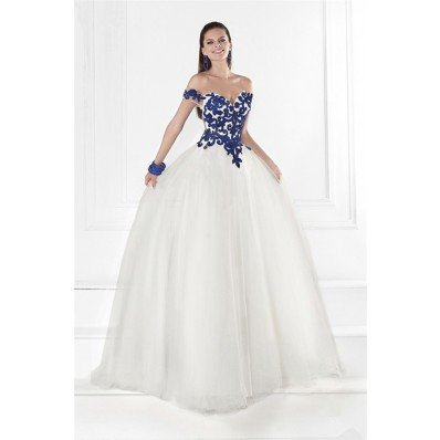 Princess Off The Shoulder Open Back White Tulle Royal Blue Embroidery Prom Dress