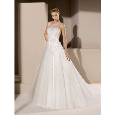 Romantic Ball Gown Illusion Bateau Neckline Sheer Back Tulle Lace Wedding Dress With Flowers