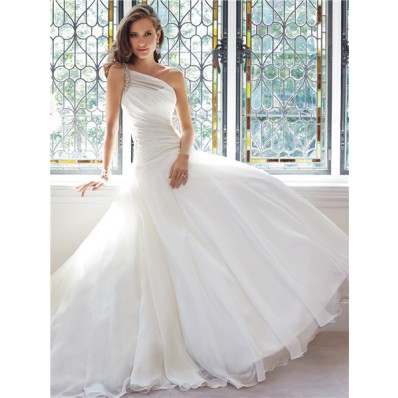 Romantic Ball Gown One Shoulder Organza Draped Wedding Dress Crystal Beaded Strap