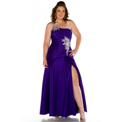 Seventeen Magazine One Shoulder Royal Blue Taffeta Beading Prom Dress Plus Size