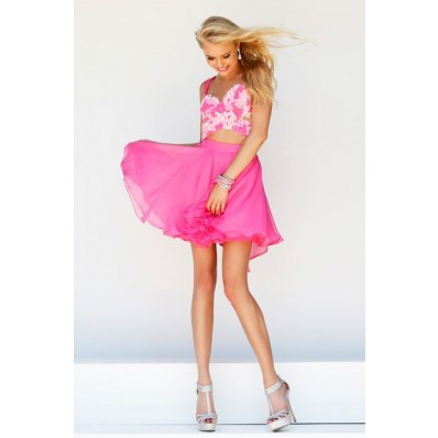Sexy A Line Sweetheart Short Hot Pink Chiffon Lace Cocktail Prom Dress With Straps