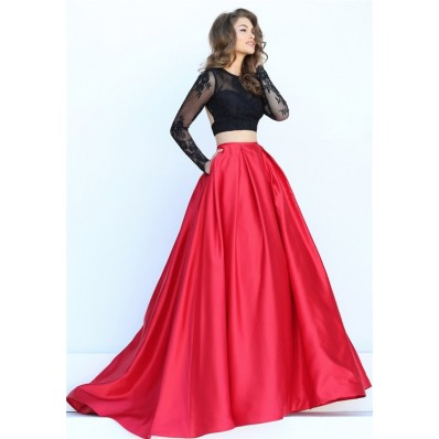 Sexy Ball Gown Two Piece Backless Long Black Lace Sleeve Red Satin Prom Dress With Pockets