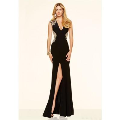 Sexy Deep V Neck High Slit Open Back Black Chiffon Gold Applique Evening Prom Dress
