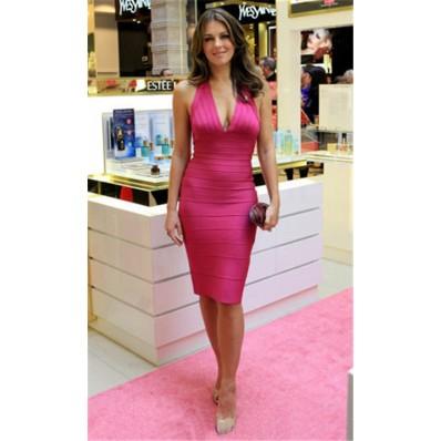 Sexy Halter Deep V Neck Short Pink Bandage Bodycon Evening Party Dress