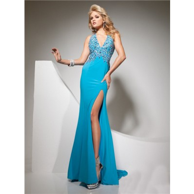 Sexy Halter V Neck Backless Long Blue Chiffon Party Prom Dress With Split