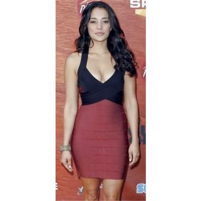 Sexy Halter V Neck Backless Short Mini Black Red Bandage Bodycon Evening Dress