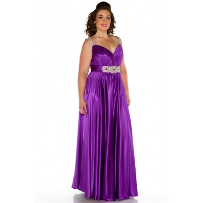 Sexy Long Purple Glitter Silk Plus Size Evening Prom Dress