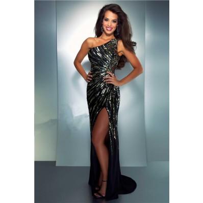 Sexy Sheath One Shoulder Long Black Chiffon Gold Silver Sequin Prom Dress Slit