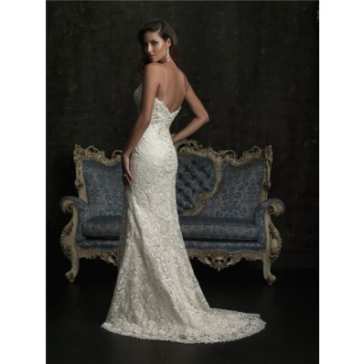 Sexy Sheath Slim Sweetheart Spaghetti Strap Venice Lace Beaded Wedding Dress