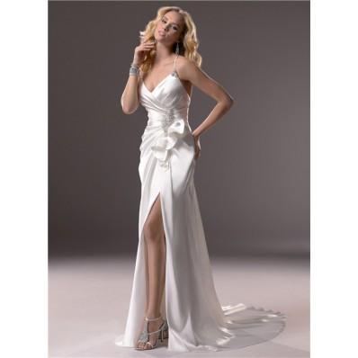 Sexy Sheath Spaghetti Strap V Neck Backless Satin Wedding Dress With Slit