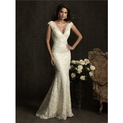 Sexy Slim Mermaid Cap Sleeve V Neck Low Back Ivory Venice Lace Wedding Dress