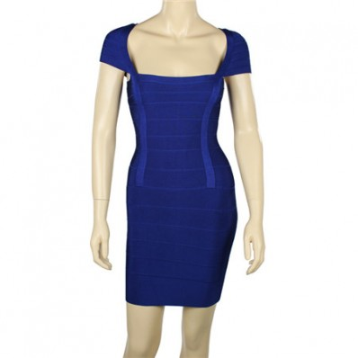 Sexy Square Neck Cap Sleeve Short Mini Royal Blue Bandage Bodycon Party Dress