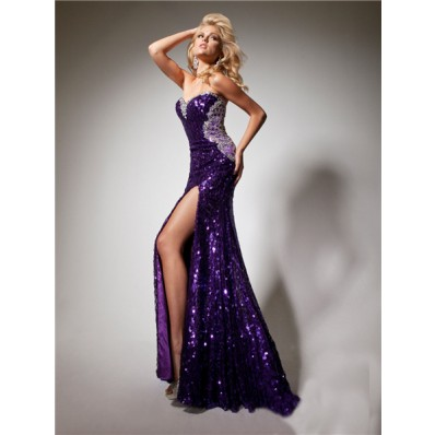 Sexy Sweetheart Long Purple Sequined Beaded Sparkle Prom