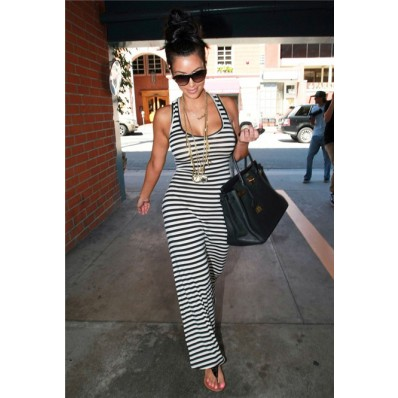 Sexy Tight Long White Black Striped Kim Kardashian Maxi Dress
