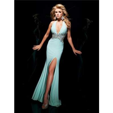 Sexy Tight Mermaid Halter Backless Long Mint Green Chiffon Beading Prom Dress