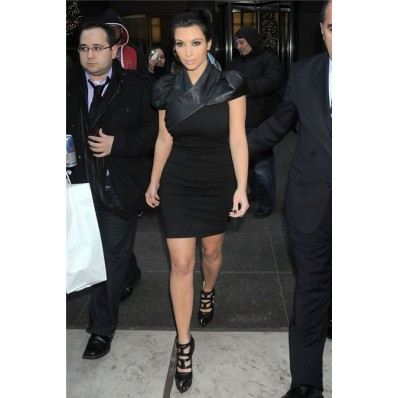 Sexy Tight Short/ Mini kim kardashian Black Leather Dress