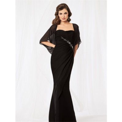 Sexy mermaid sweetheart floor length black chiffon mother of the bride dress with jacket